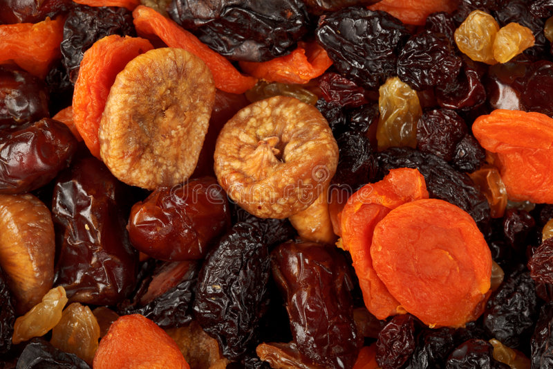 Verschiedene getrocknete Fruchtnahaufnahme lizenzfreie stockbilder
