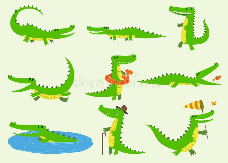 Verschiedene grüne Zootiere der Karikaturvektorkrokodilcharaktere Lustiges Tier des netten Krokodils mit Badspielzeug und groß vektor abbildung