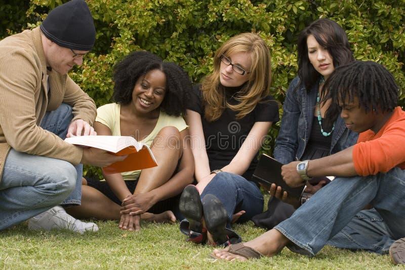 Verschiedene Gruppe von Personenen-Lesung und -c$studieren lizenzfreie stockbilder