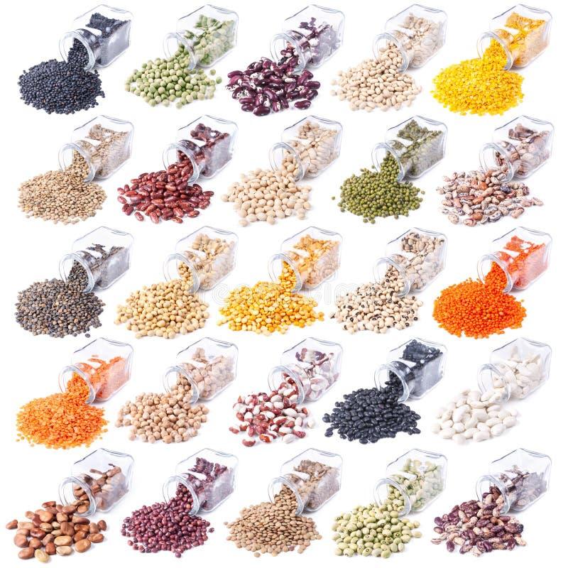 Verschiedene Hülsenfrüchte in den Glasgläsern lizenzfreies stockbild