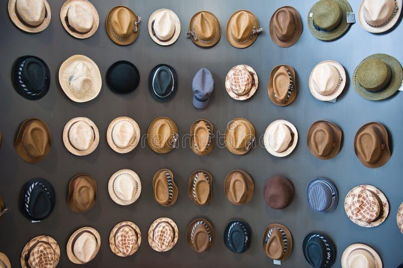 Verschiedene Hüte auf hölzerner Wand stockfotografie