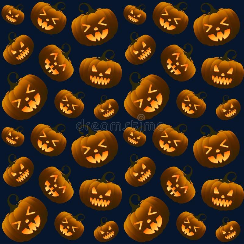 Verschiedene Halloween-Kürbis-dunkles nahtloses Muster lizenzfreies stockbild