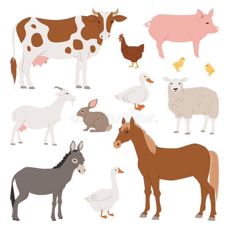 Verschiedene Hauptbauernhofvektortiere und -vögel mögen Kuh, Schaf, Schwein, gesetzte Illustration des Entenackerlands lizenzfreie abbildung