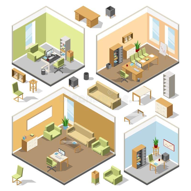 Verschiedene isometrische Arbeitsplätze mit Schnittmöbeln Architekturplan des Vektors 3d lizenzfreie abbildung