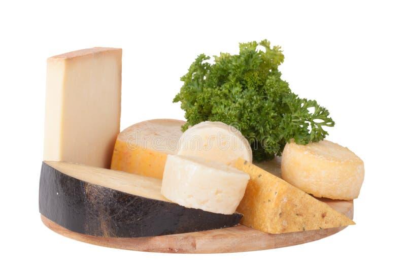 Verschiedene Käse und ein Bündel Petersilie liegend auf einem Brett isolat lizenzfreie stockfotos