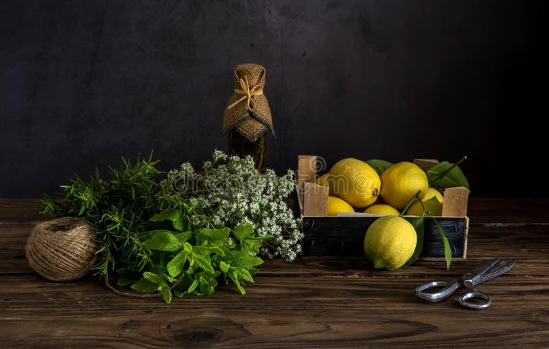 Verschiedene Kräuter, Gewürze, Zitronen und Olivenöl auf einem hölzernen Hintergrund lizenzfreies stockbild