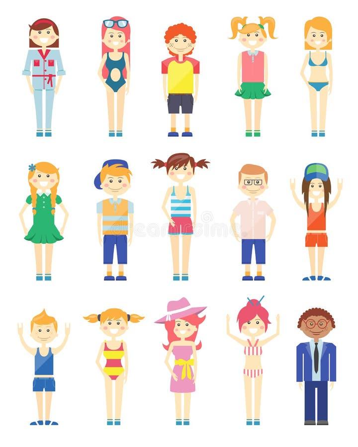 Verschiedene lächelnde Jungen-und Mädchen-Grafiken vektor abbildung