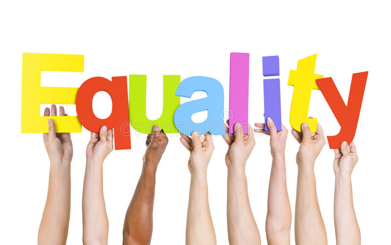 Verschiedene Leute, die Wort-Gleichheit halten lizenzfreies stockbild