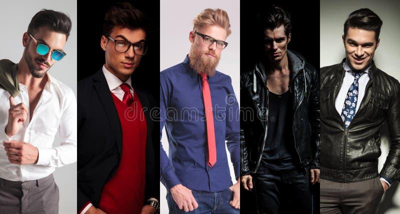5 verschiedene Männer, die im Studio aufwerfen lizenzfreie stockfotografie