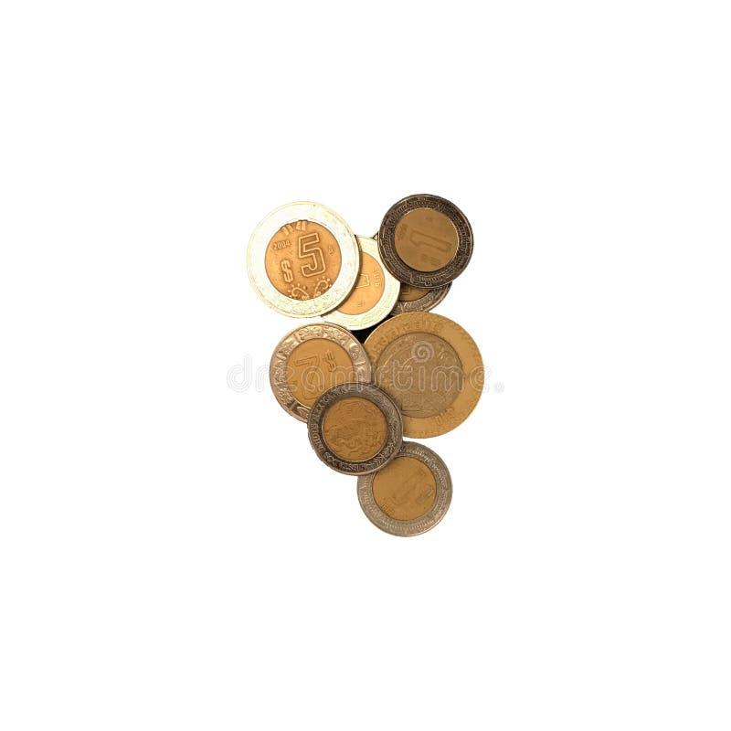 Verschiedene mexikanische Münzen von 10, 5 2 und 1 Wert gruppiert und auf weißem Hintergrund lokalisiert stockfoto