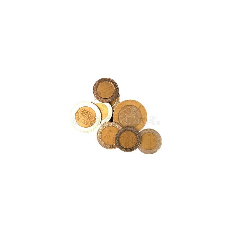 Verschiedene mexikanische Münzen von 10, 5 2 und 1 Wert gruppiert und auf weißem Hintergrund lokalisiert stockbilder