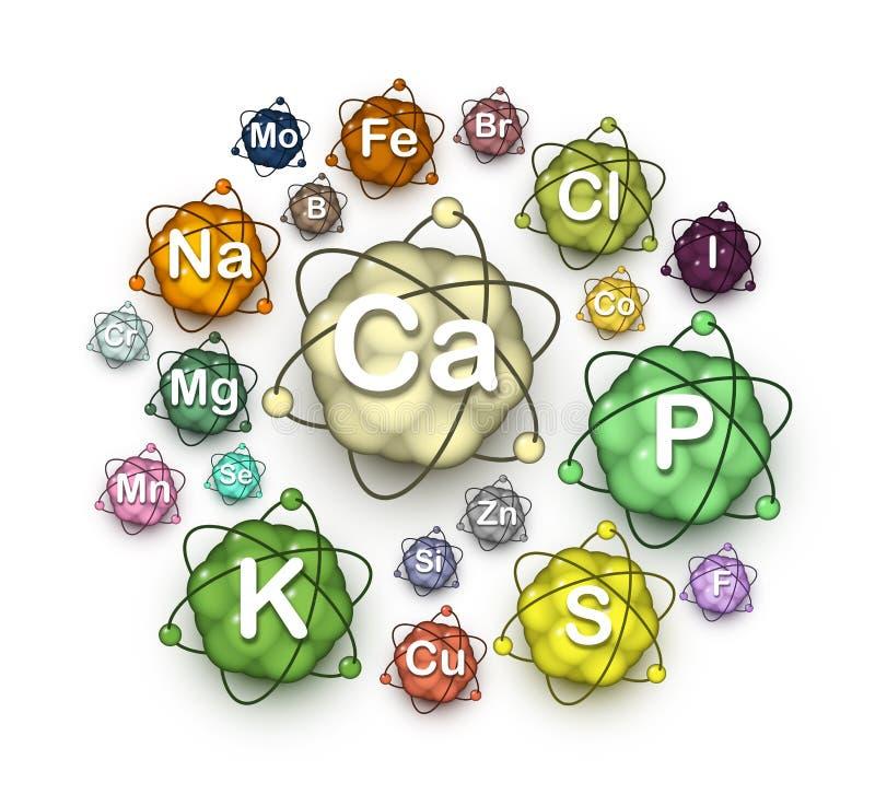 Verschiedene Mikroelemente, Makroelemente und Mineralien vektor abbildung
