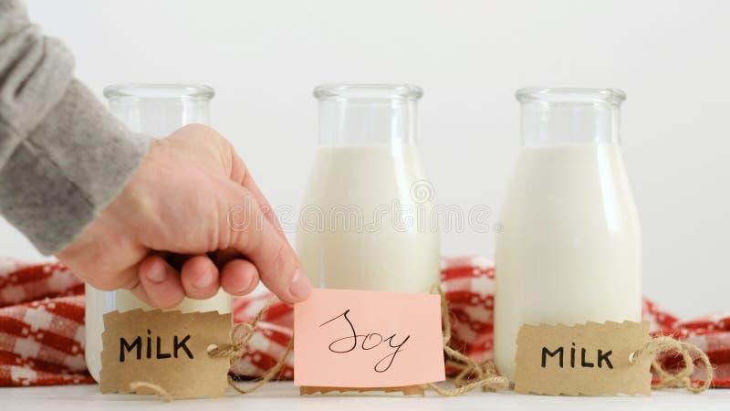 Verschiedene Milch schreibt Sojabohnenölkuh gesunden Lebensstil des strengen Vegetariers stockbild