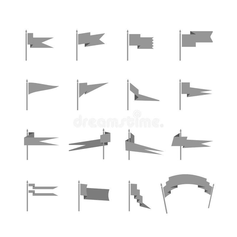 Verschiedene mittelalterliche Flaggenschattenbilder lizenzfreie abbildung