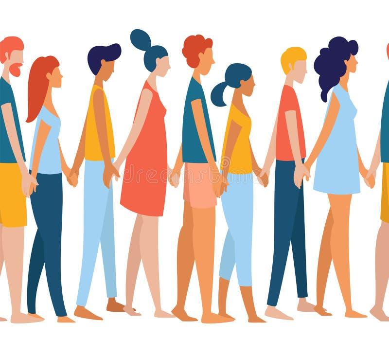 Verschiedene multiethnische Frauen und Männer gruppieren Mengenhändchenhalten zusammen stock abbildung