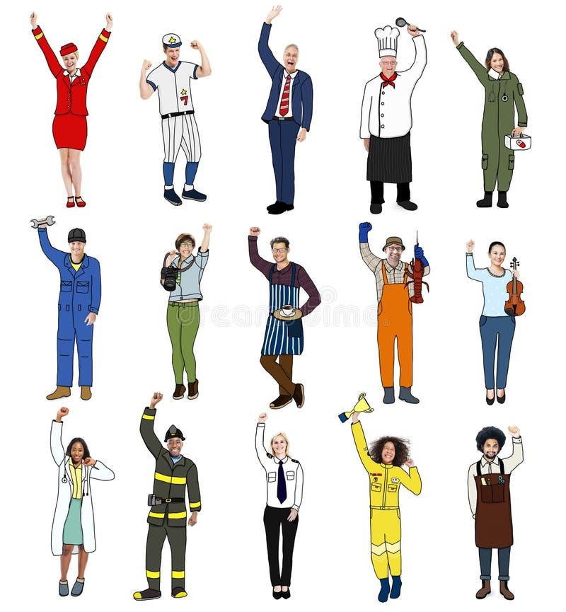 Verschiedene multiethnische Leute mit verschiedenen Jobs lizenzfreie abbildung