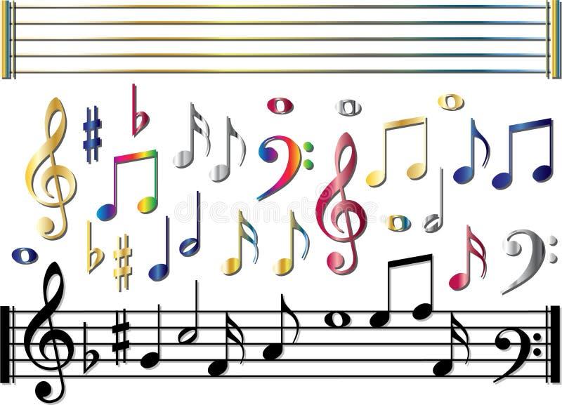 Verschiedene Musikanmerkungen eingestellt lizenzfreie abbildung