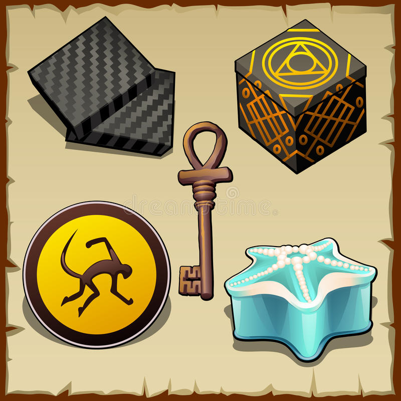 Verschiedene mysteriöse Gegenstände von den Kästen und von den Symbolen lizenzfreie abbildung