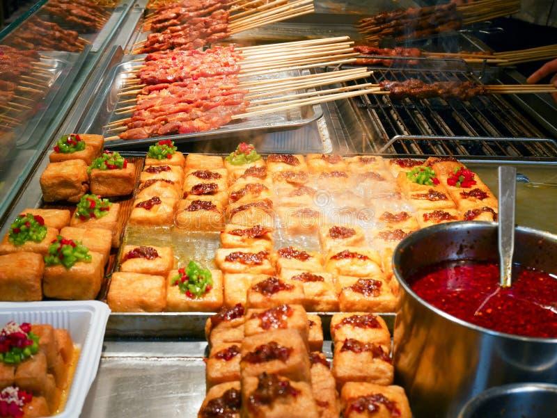 Verschiedene Nahrungsmittel verkauft im Gastronomiebereich lizenzfreie stockfotografie
