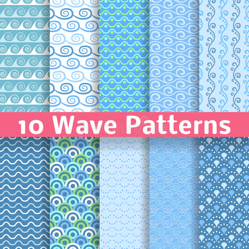 Verschiedene nahtlose Muster der Welle (Tiling). Vektor vektor abbildung