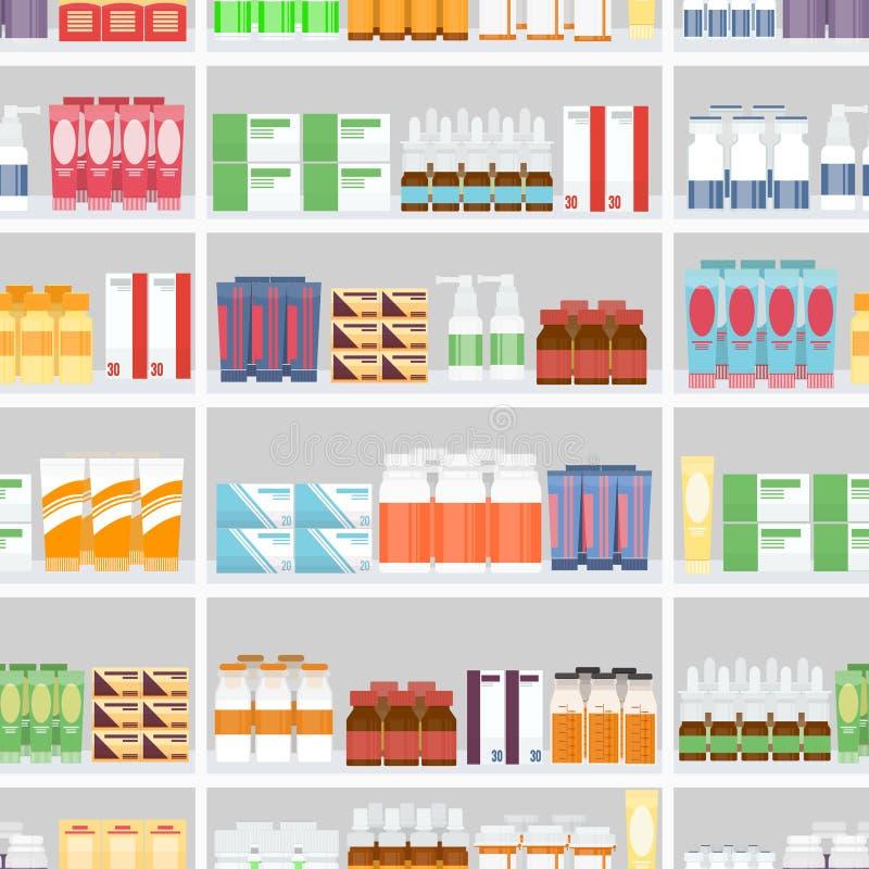 Verschiedene Pillen und Drogen auf Regalen lizenzfreie abbildung
