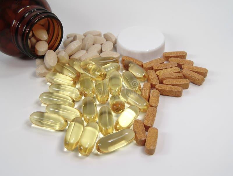 Verschiedene Pillen Und Flasche Lizenzfreies Stockfoto