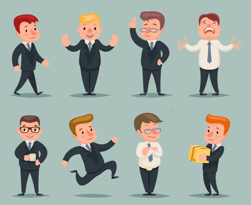 Verschiedene Positionen und Aktions-Geschäftsmann Character Icons Set stock abbildung