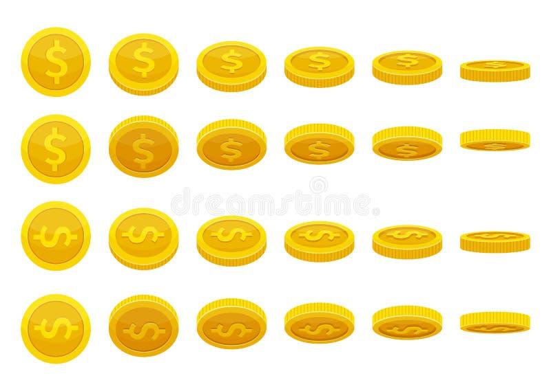 Verschiedene Positionen von goldenen Münzen Vektorillustrationen in der Karikaturart stock abbildung