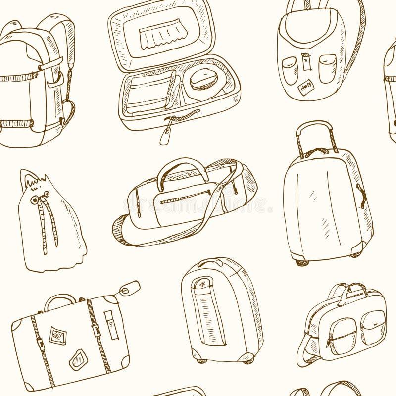 Verschiedene Reisetaschen und -koffer des nahtlosen Musters lizenzfreie abbildung