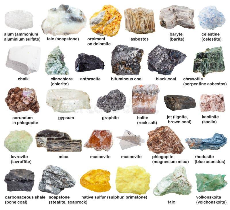 Verschiedene rohe Mineralsteine mit Namen lokalisiert lizenzfreie stockfotografie