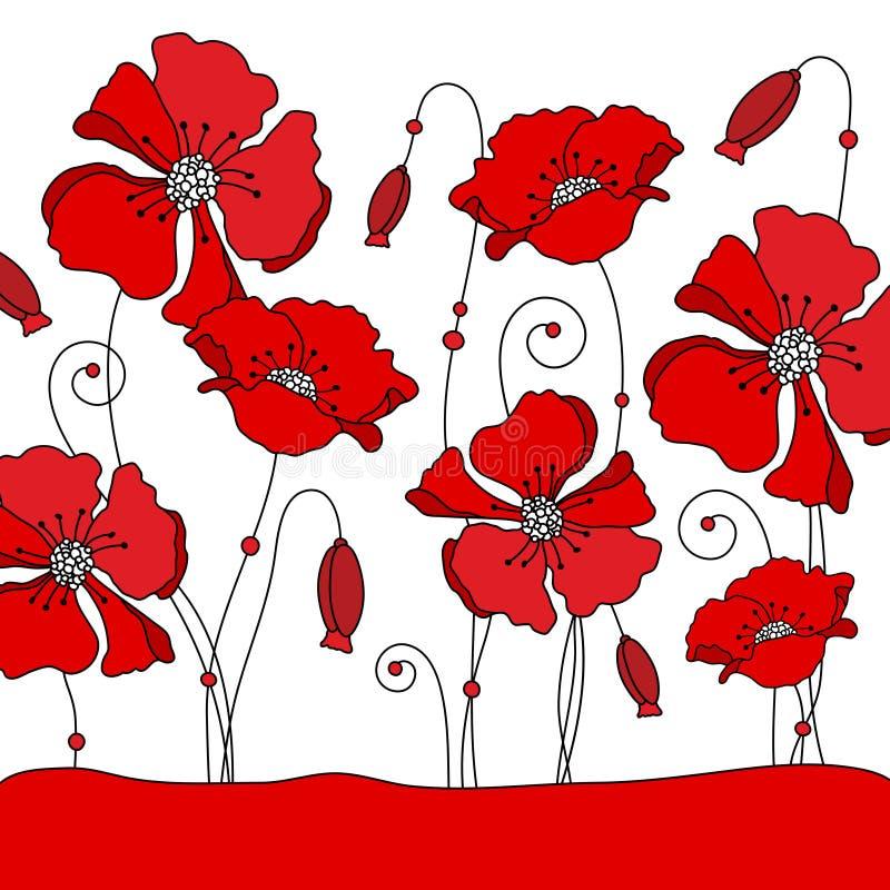 Verschiedene rote grafische Mohnblumen auf Wiesen-Hintergrund lizenzfreie abbildung