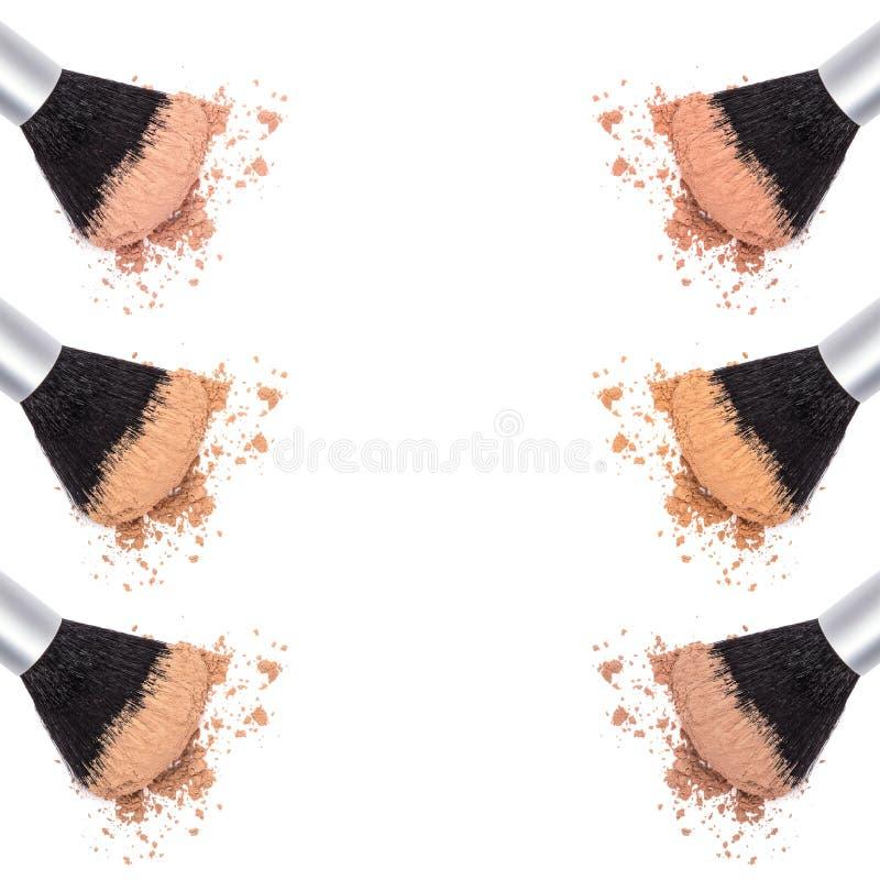Verschiedene Schatten des losen kosmetischen Pulvers stockbild