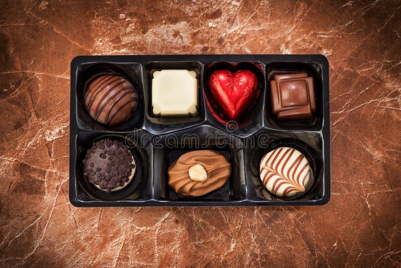 Verschiedene Schokoladenbonbonsüßigkeiten stockfotos