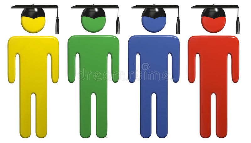 Verschiedene Schuleausbildungs-Staffelungschutzkappenkursteilnehmer lizenzfreie abbildung