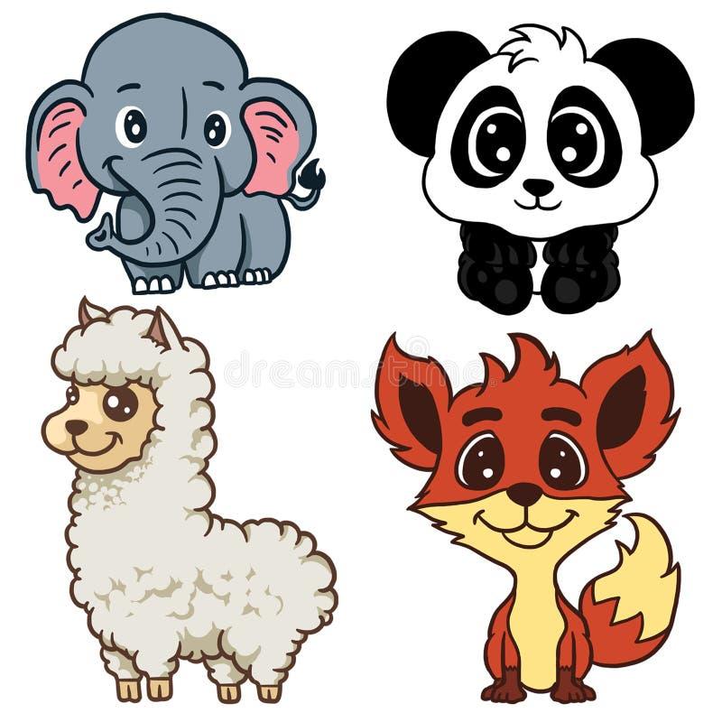 Verschiedene Tiere lokalisiert auf weißem Illustrationsmaskottchen charakter lizenzfreie abbildung
