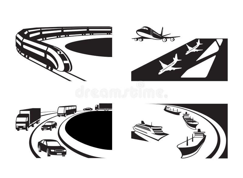 Verschiedene Transportszenen lizenzfreie abbildung