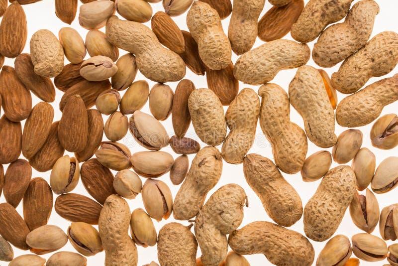 Verschiedene trockene Früchte und Nüsse stockfotos