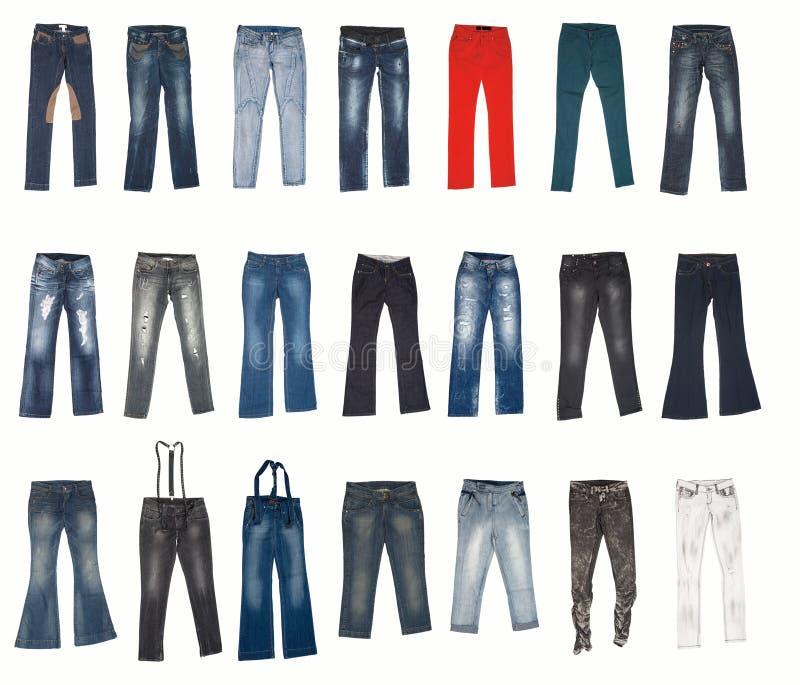 Verschiedene Typen der Jeanshosen stockbilder