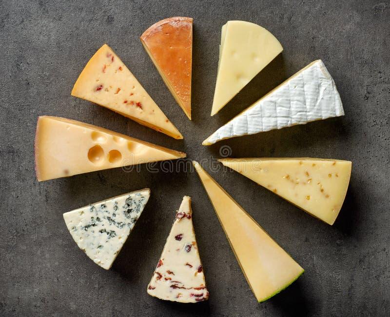 Verschiedene Typen des Käses stockfotografie