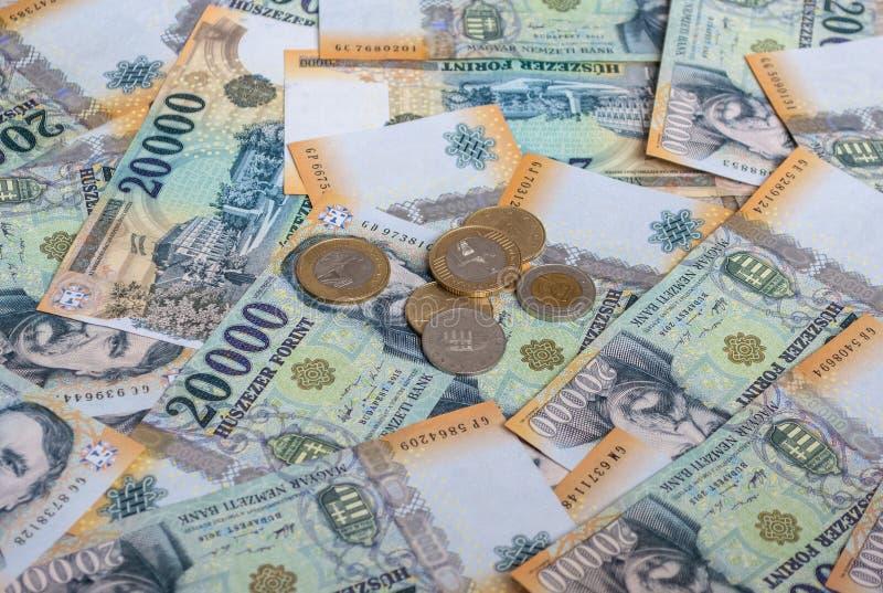 Verschiedene ungarische Banknoten und Münzen, 20 tausend HUF lizenzfreie stockfotos