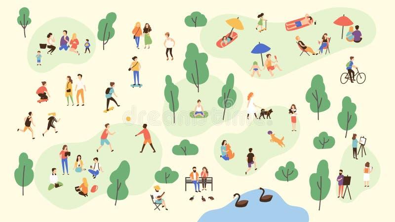 Verschiedene Völker am Park, der Tätigkeiten der Freizeit im Freien durchführt - spielend mit Ball, gehendem Hund, Yoga und Sport vektor abbildung
