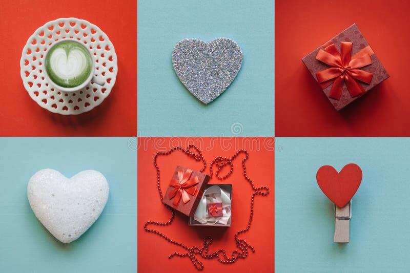 Verschiedene Valentinstagsymbole der kreativen Idee lizenzfreie stockfotos