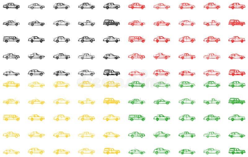 Verschiedene Varianten der Autos stock abbildung
