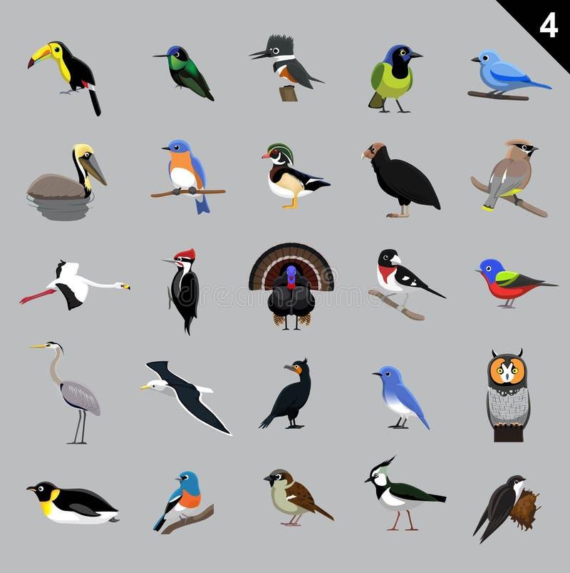 Verschiedene Vogel-Karikatur-Vektor-Illustration 4 vektor abbildung