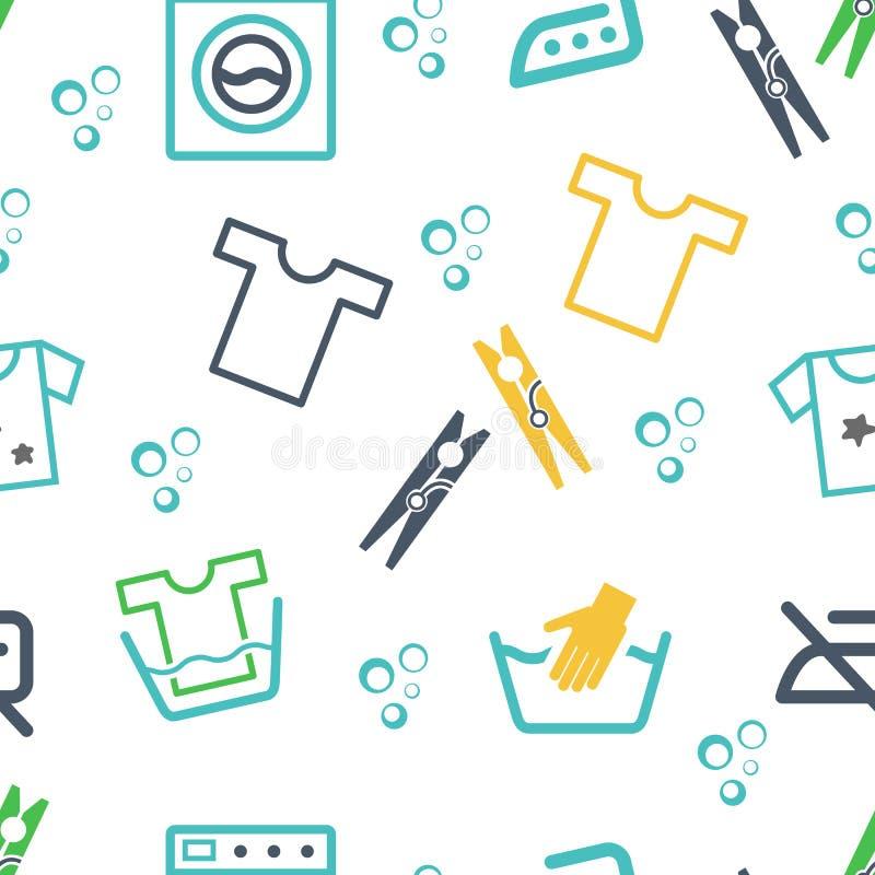 Verschiedene Wäscherei-themenorientierte Ikonen lizenzfreie abbildung