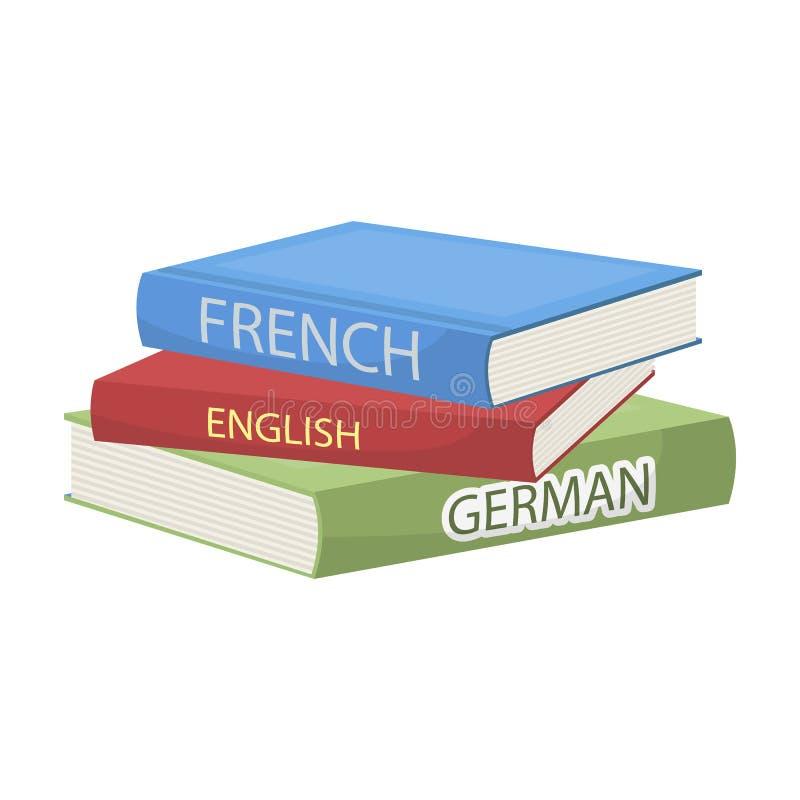 Verschiedene Wörterbuchikone in der Karikaturart lokalisiert auf weißem Hintergrund Interpret- und Übersetzersymbolvorratvektor vektor abbildung