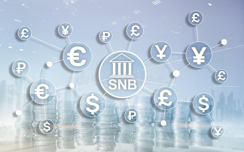 Verschiedene W?hrungen auf einem virtuellen Schirm SNB Schweizer National Bank lizenzfreies stockfoto