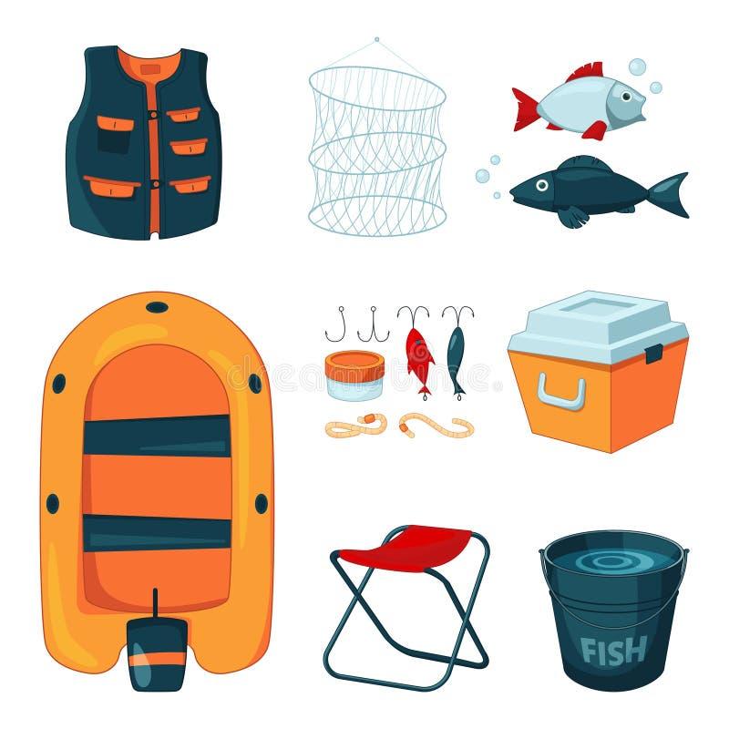 Verschiedene Werkzeuge für die Fischerei Vektorikonen eingestellt in Karikaturart vektor abbildung