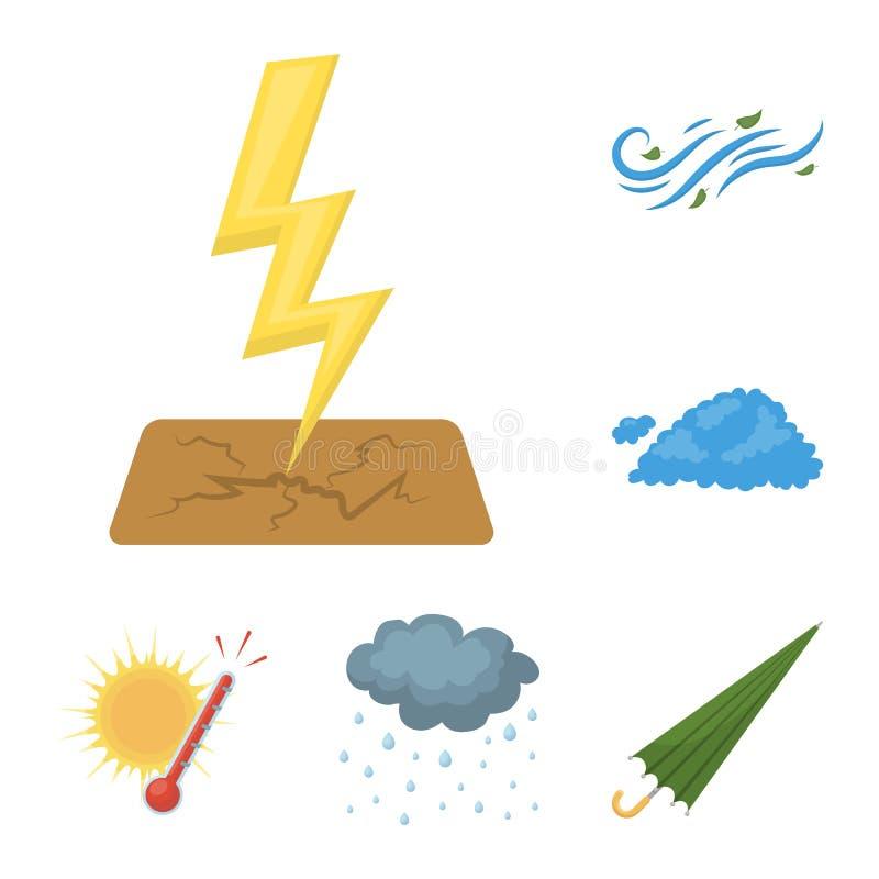 Verschiedene Wetterkarikaturikonen in der Satzsammlung für Design Zeichen und Eigenschaften des Wetters vector Symbol vektor abbildung