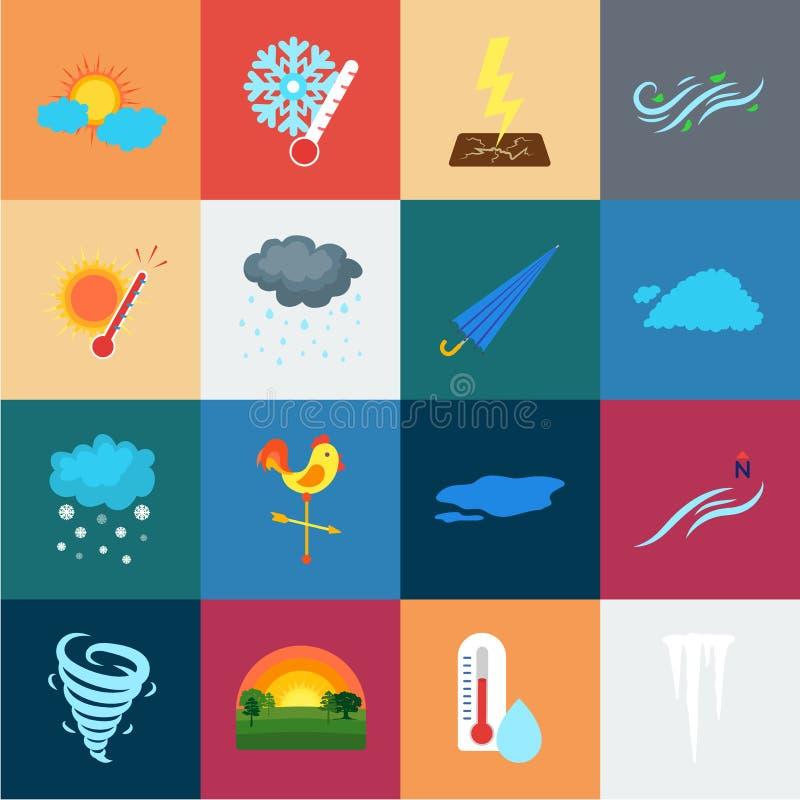 Verschiedene Wetterkarikaturikonen in der Satzsammlung für Design Zeichen und Eigenschaften des Wetters vector Symbol lizenzfreie abbildung